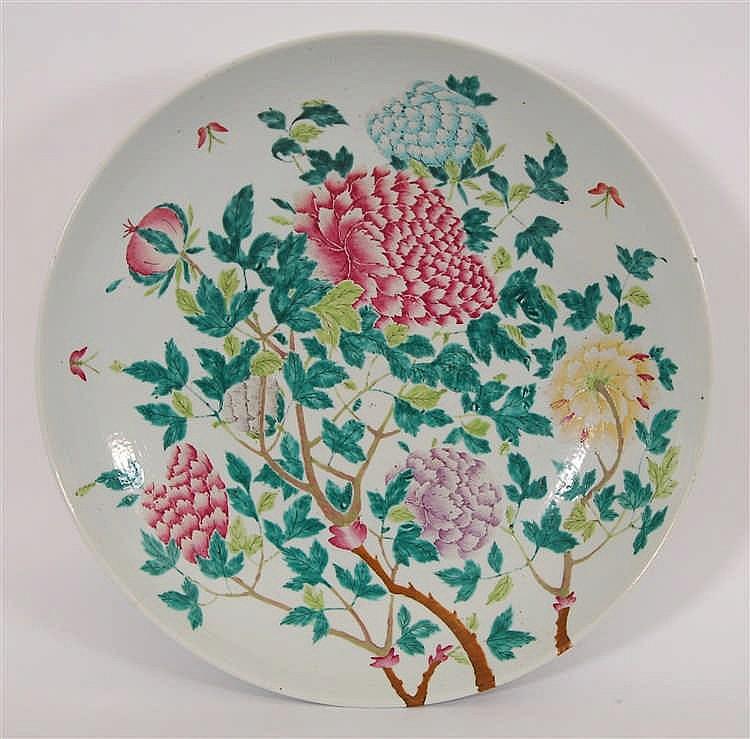 Chine Grand plat rond Décor polychrome de branches fleuries aux p