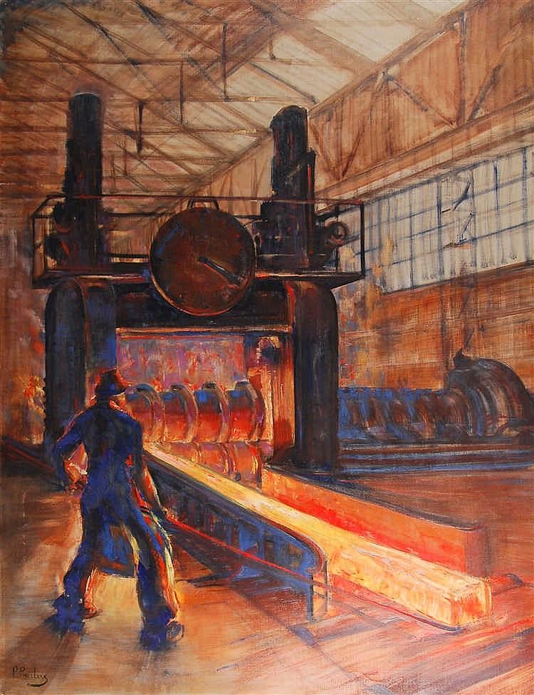 Pierre Paulus  (1881-1959) Le métallurgiste Huile sur toile.