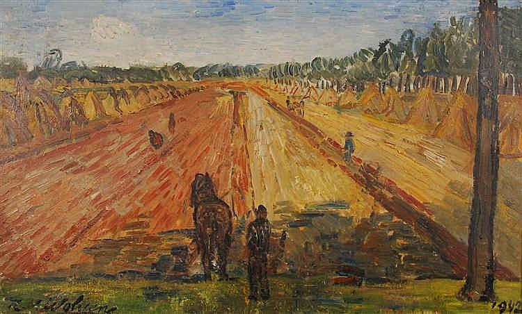 Henri - Victor Wolvens  (1896-1977) Les blés  Huile sur toile