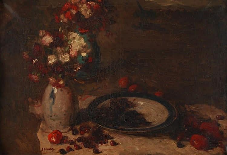 Jean Laudy (1877-1956) Table garnie de vases de fleurs et de
