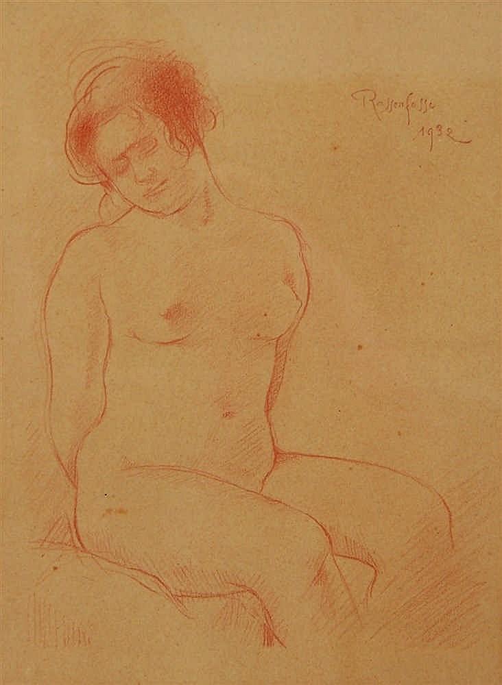 Armand Rassenfosse (1862-1934) Nu assis Sanguine sur papier.