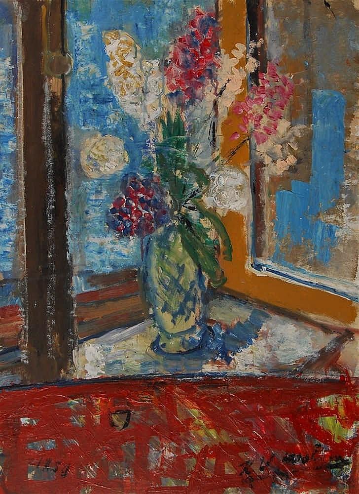 Henri - Victor Wolvens (1896-1977) Vase de fleurs sur une ta