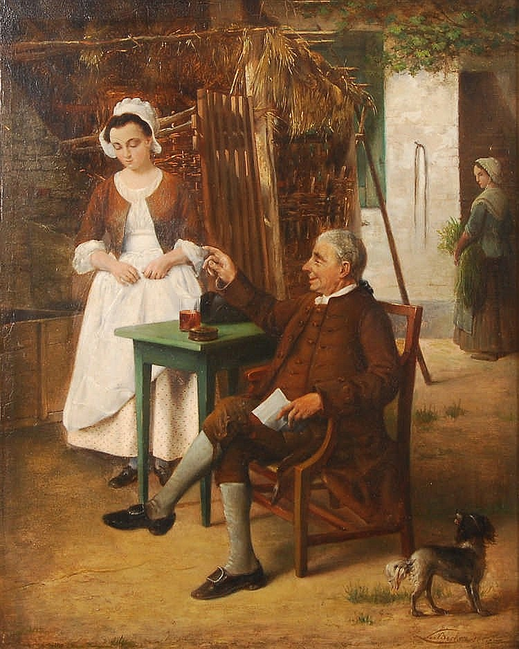 Léon Becker (1826-1909) Scène galante Huile sur panneau.