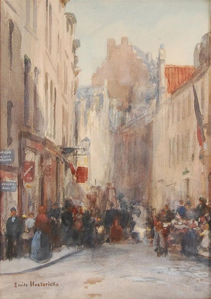 Emile Hoeterickx (1853-1923) Rue animée à Bruxelles Aquarell
