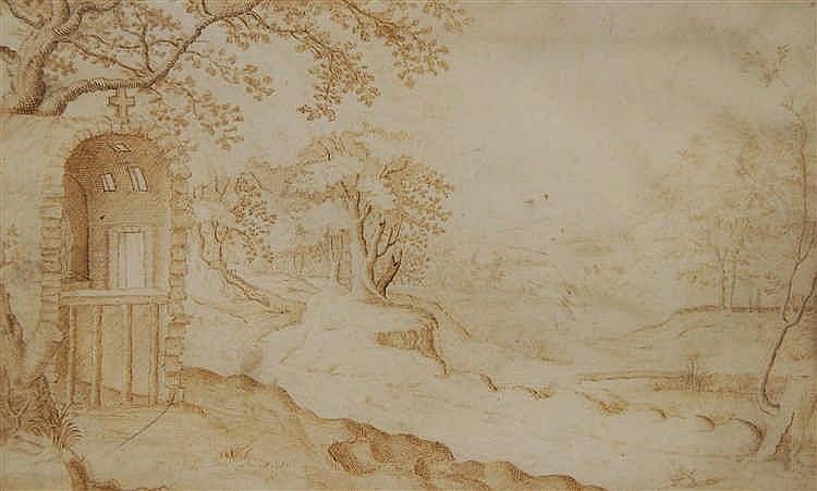 Ecole flamande XVIIe s. Paysage boisé avec chapelle.  Dessin