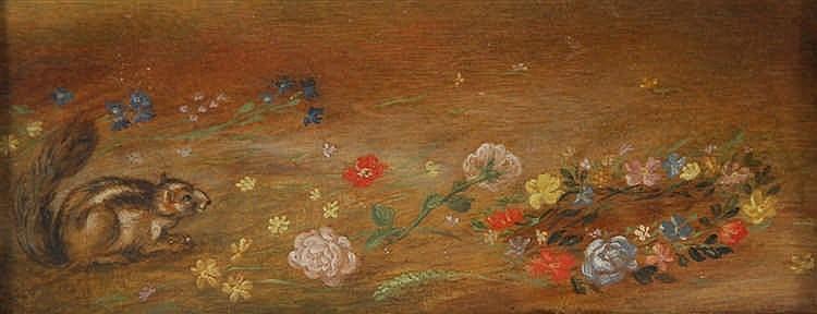 Ecole flamande XVIIe s. Vase de fleurs à l'écureuil - Couronne d
