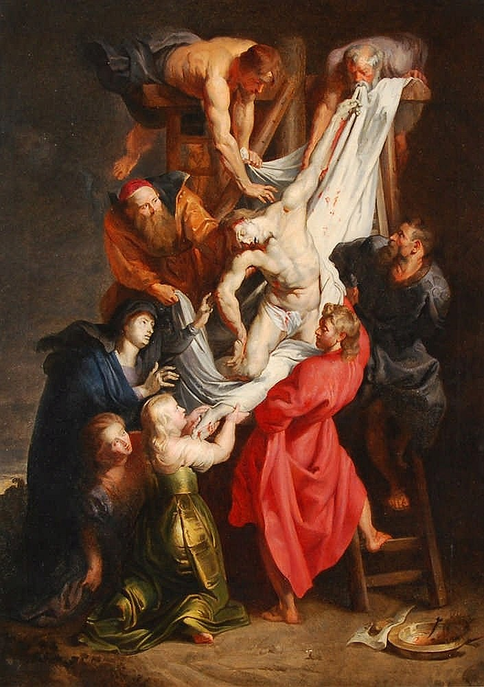 P.P. Rubens (d'après / naar) La descente de croix Huile sur toil