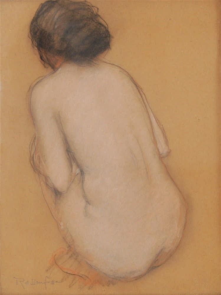 Armand Rassenfosse  (1862-1934) Nu accroupi de dos Pastel et