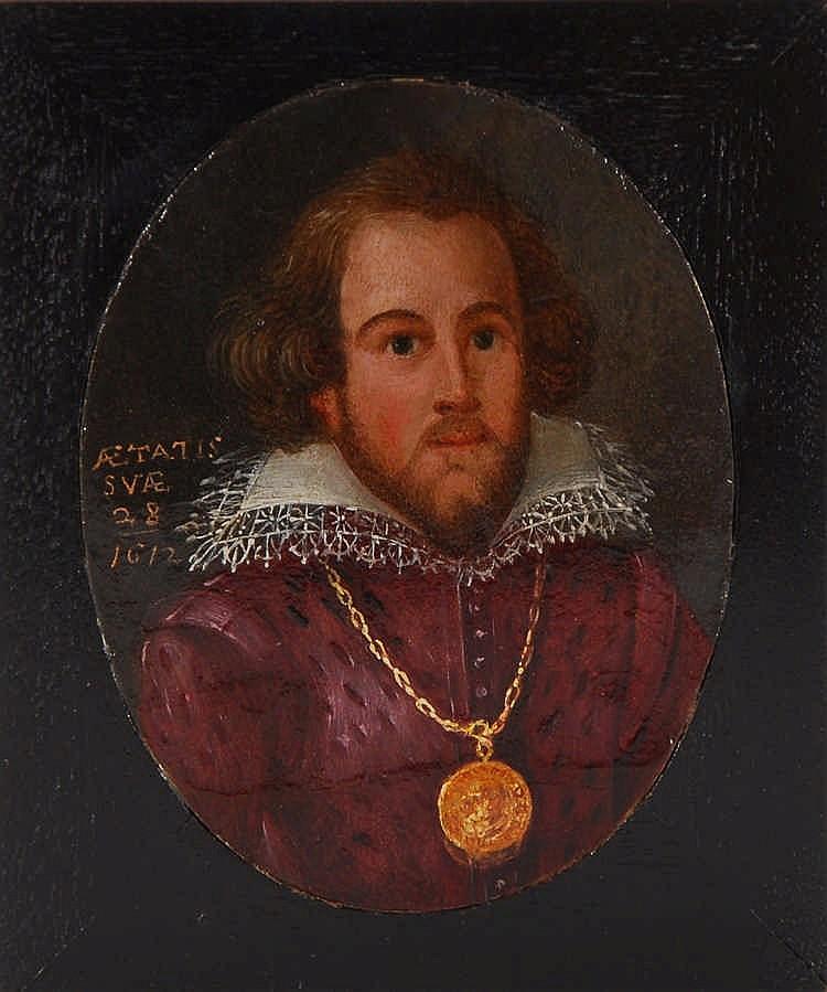 Ecole flamande début XVIIe s. Portrait de gentilhomme. Huil