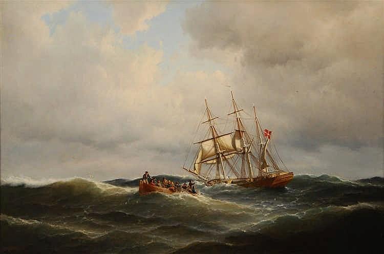 Carl Ludwig Bille  (1815-1898) Voilier en détresse Huile sur