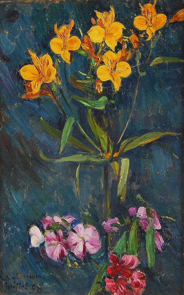 Georges Lemmen  (1865-1916) Bouquet de fleurs Huile sur toile