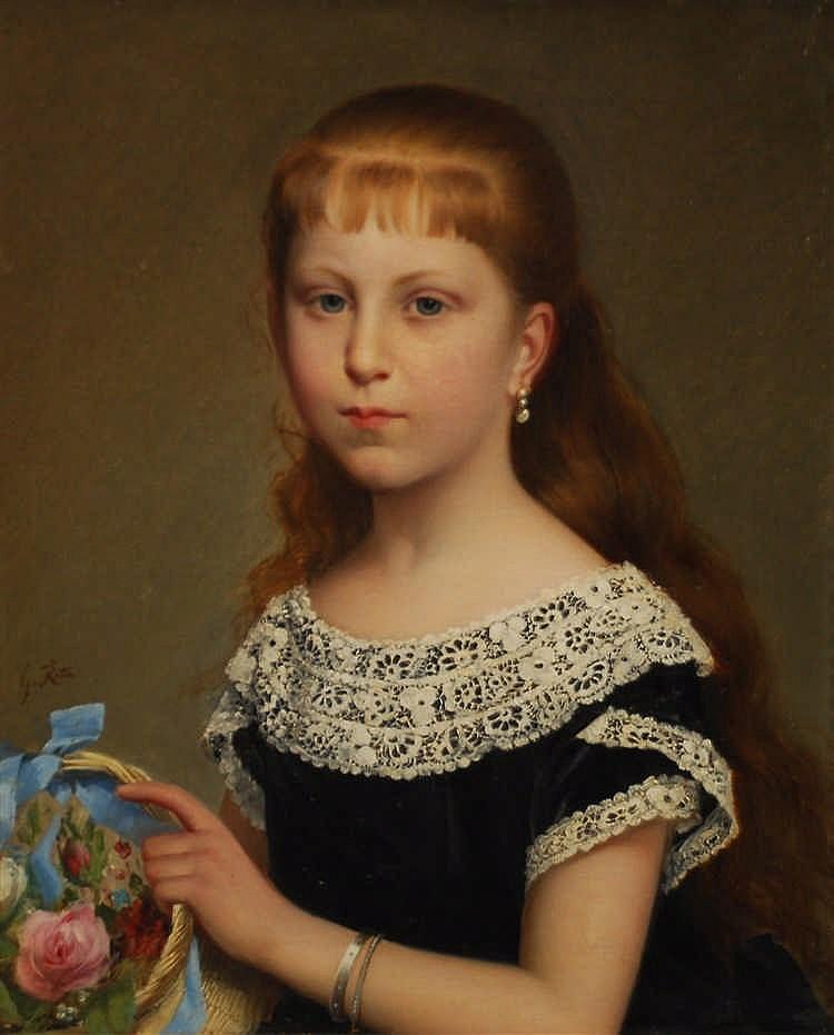 G. Roth (XIXe s. / 19de eeuw) Jeune fille à la corbeille de fleur
