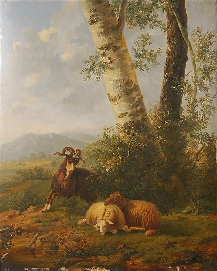 P. Rommel Moutons et chèvre au pâturage Huile sur panneau.  S