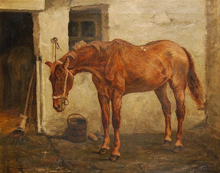 Jean Delvin (1853-1922) Cheval devant l'écurie Huile sur toi
