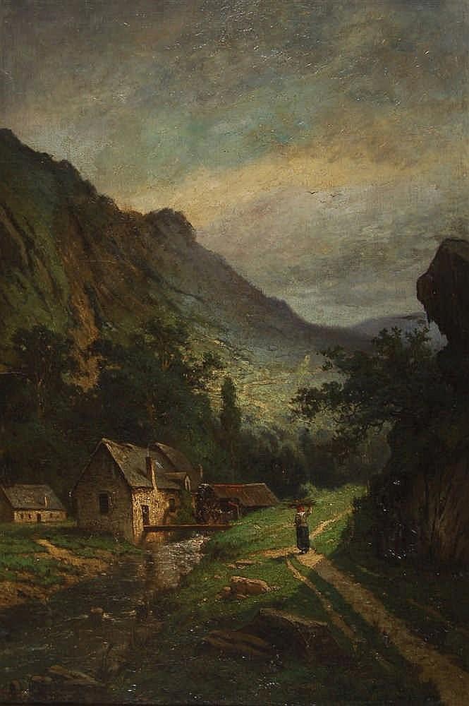 Henri Piéron (XIXe siècle / 19de eeuw)   Paysage montagneux a