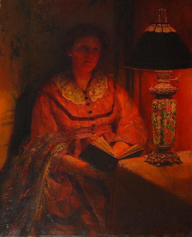 Louisa De Jans  (1884-1968) La lecture Huile sur toile.