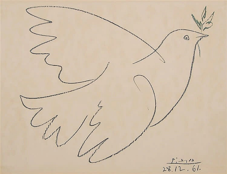 Pablo Picasso  (1881-1973)  Colombe Lithographie.  Signé
