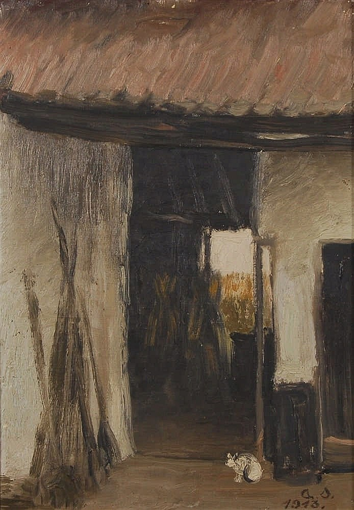 Albert Servaes  (1883-1966) La grange Huile sur panneau.
