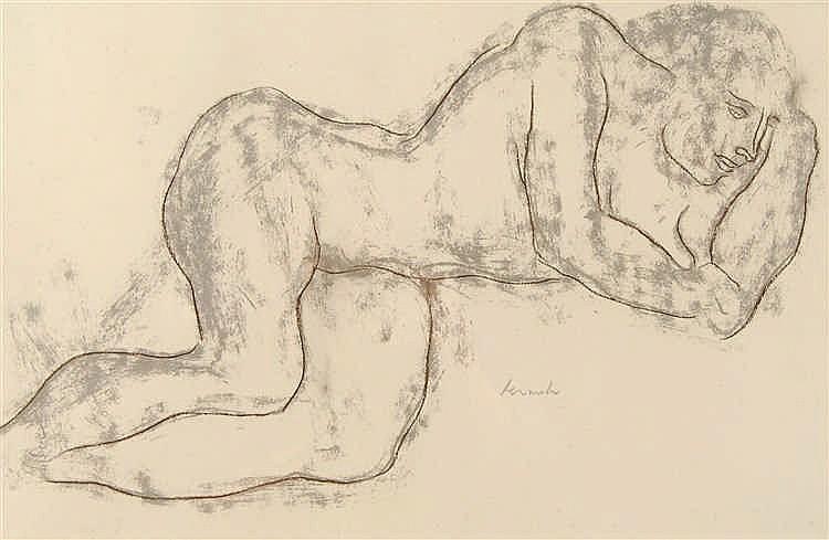 Constant Permeke (1886-1952) Nu allongé Pastel sur papier. L