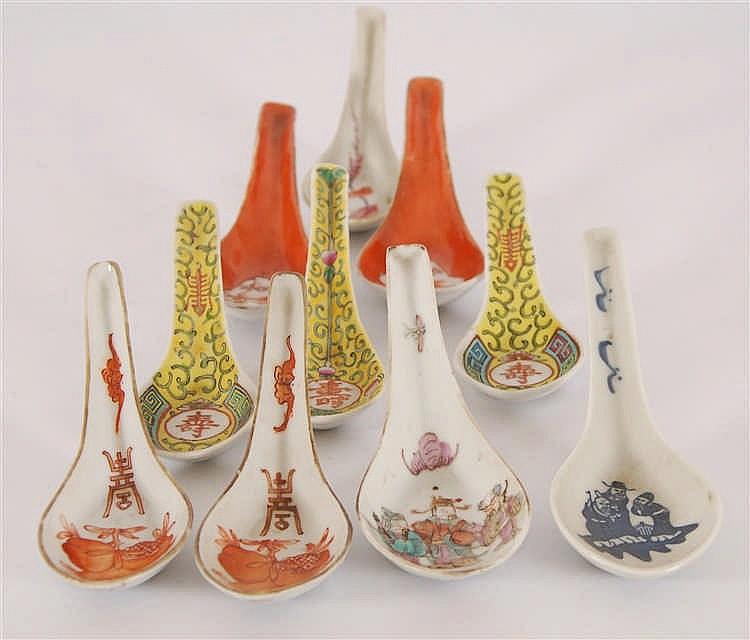 Chine Lot de dix cuillères Décor polychrome. Chine.