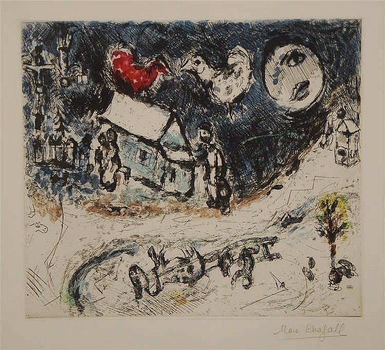 Marc Chagall  (1887-1985)  Village Eau-forte et aquatinte. Si