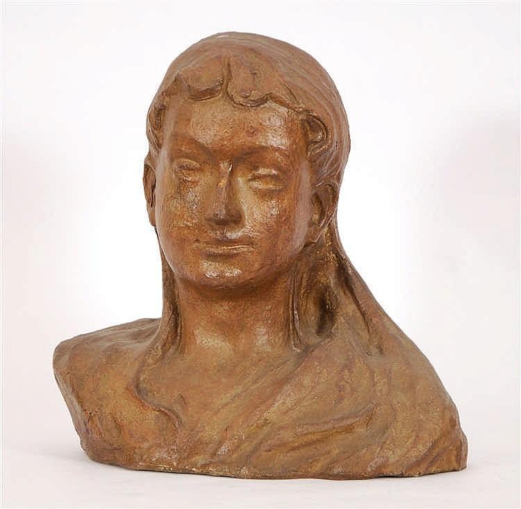 Arthur Craco  (1869-1955) Buste de jeune fille Terre cuite pa