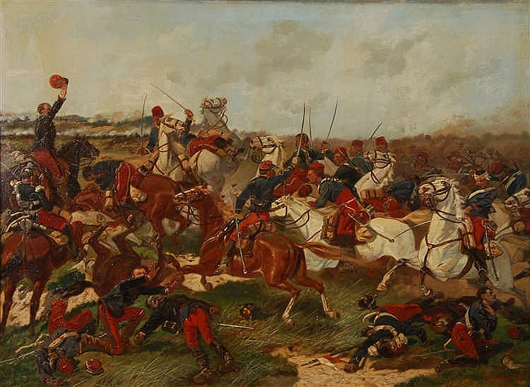 Inconnu XIXe s. / Onbekend 19de eeuw Combat de cavalerie Huile su