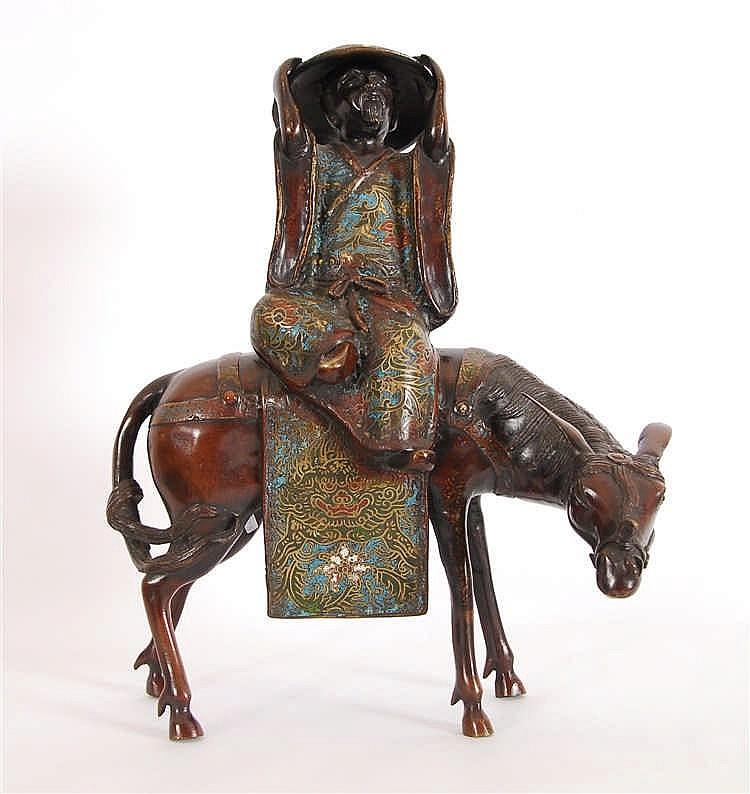 Dignitaire sur un âne Bronze à décor d'émaux cloisonnés. Japon,