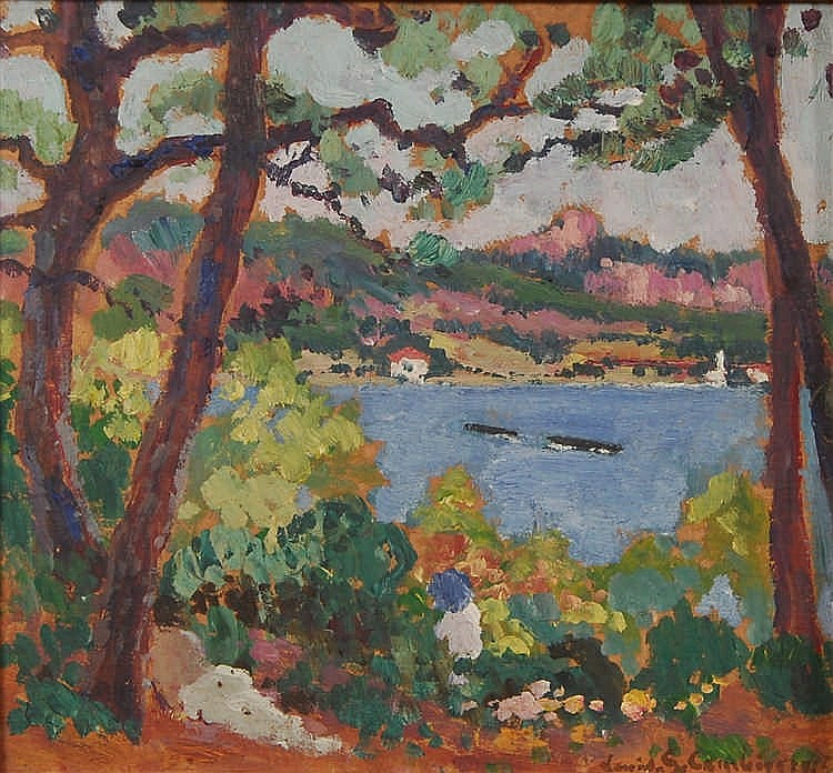 Louis Gustave Cambier  (1874-1949) Paysage côtier  Huile sur