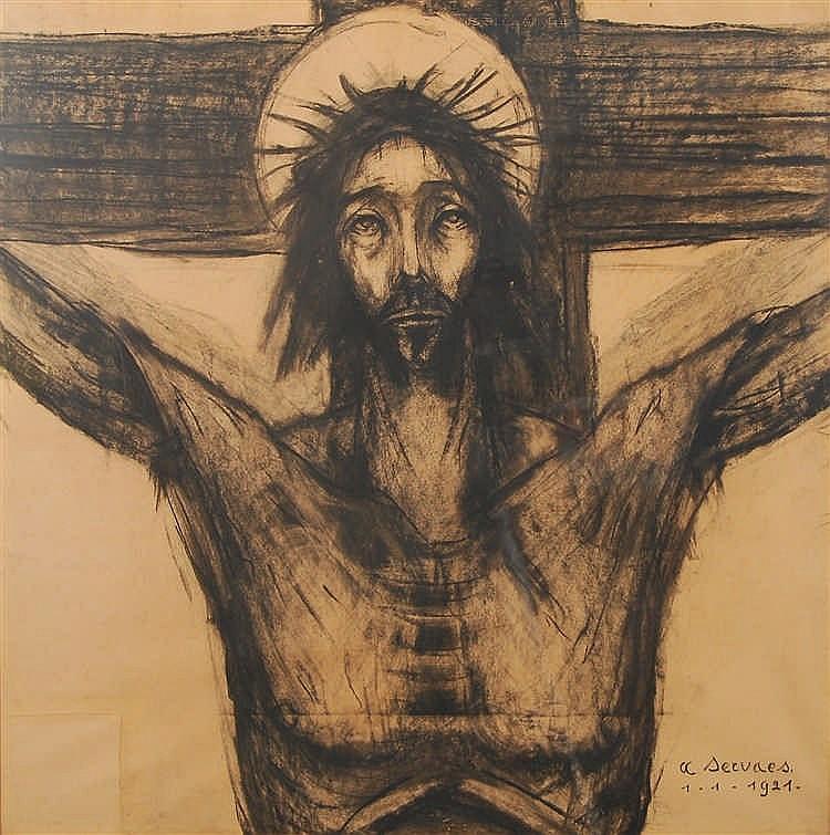 Albert Servaes (1883-1966) Tête de Christ Fusain sur papier.