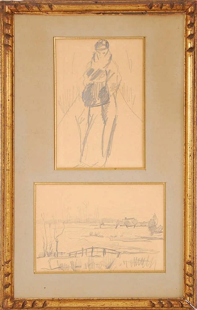 Rik Wouters (1882-1916) Silhouette - Paysage avec pont Crayo