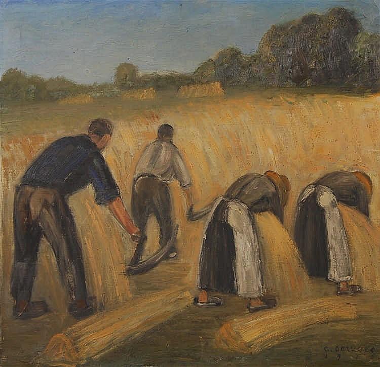 Albert Servaes  (1883-1966) La fauche Huile sur toile.  S