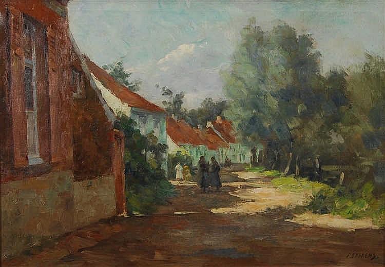 Félix Eyskens (1882-1968) Vue de village Huile sur toile.