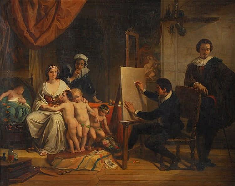 Charles-Augustin Wauters  (1811-1869) L'atelier du peintre Hu