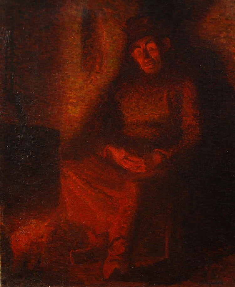 Alfred Hazledine  (1876-1954) Le repos Huile sur toile.