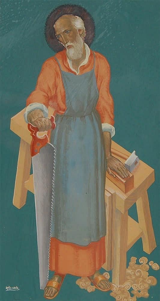 Anto Carte  (1886-1954) Saint Joseph Gouache sur papier.
