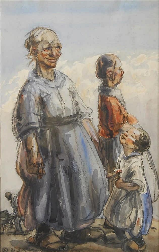 Alfred Ost  (1884-1945) Paysannes et enfant Aquarelle sur pap