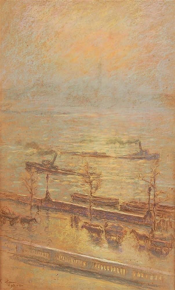 Emile Claus  (1849-1924) Vue de la Tamise à Londres Pastel su