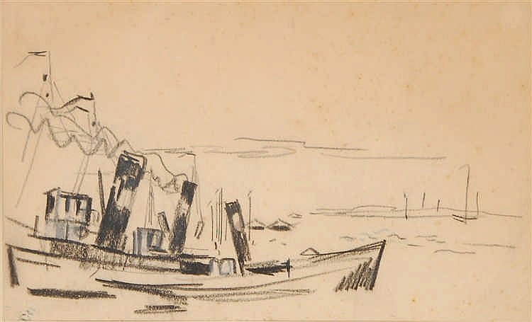 Rik Wouters  (1882-1916) Bateau sur le canal Crayon noir et b