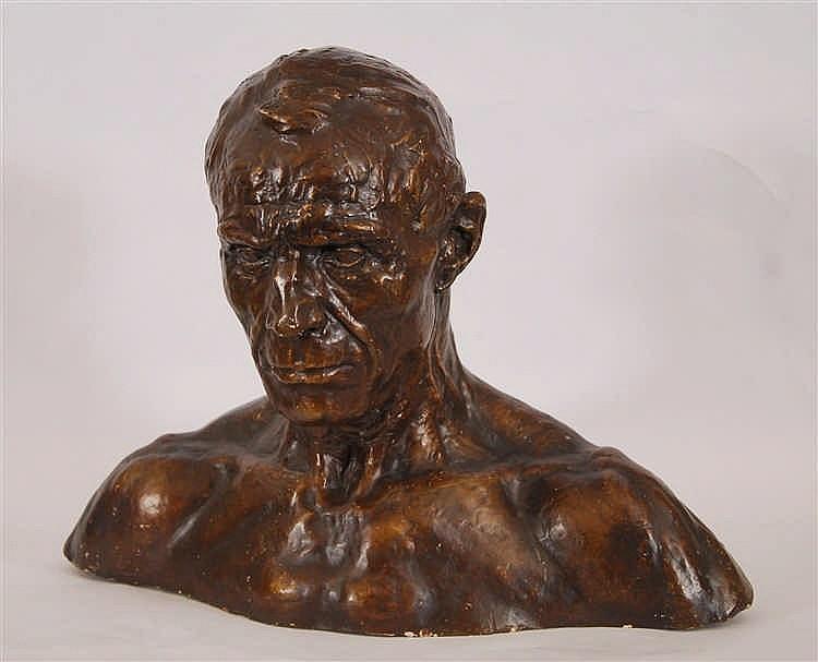 George Minne (1866-1941) Torse du débardeur Plâtre d'atelier