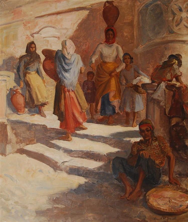 Charles-Ernest Smets   Scène de rue orientale Huile sur toile