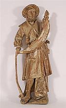 Prophète debout Chêne sculpté, traces de polychromie. Travail fl
