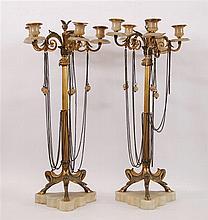 Paire de candélabres A cinq bras de lumière montés sur un fût ce