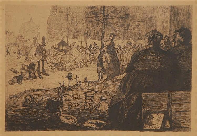 Jules De Bruycker  (1870-1945) Le marché Saint Jacques à Gand
