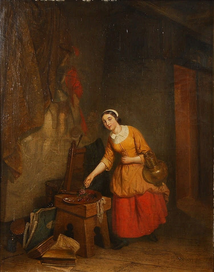 Auguste Corkole  (1822-1875) L'atelier de l'artiste Huile sur