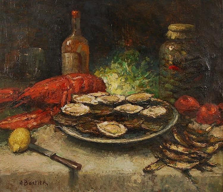 Alfred Bastien  (1873-1955) Huîtres, homard et poissons sur u