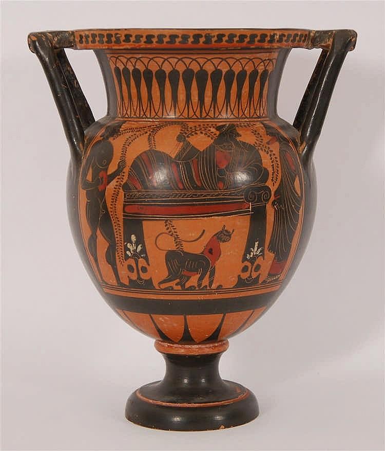 Cratère grec  Décor de scènes mythologiques sur fond rouge. Terr
