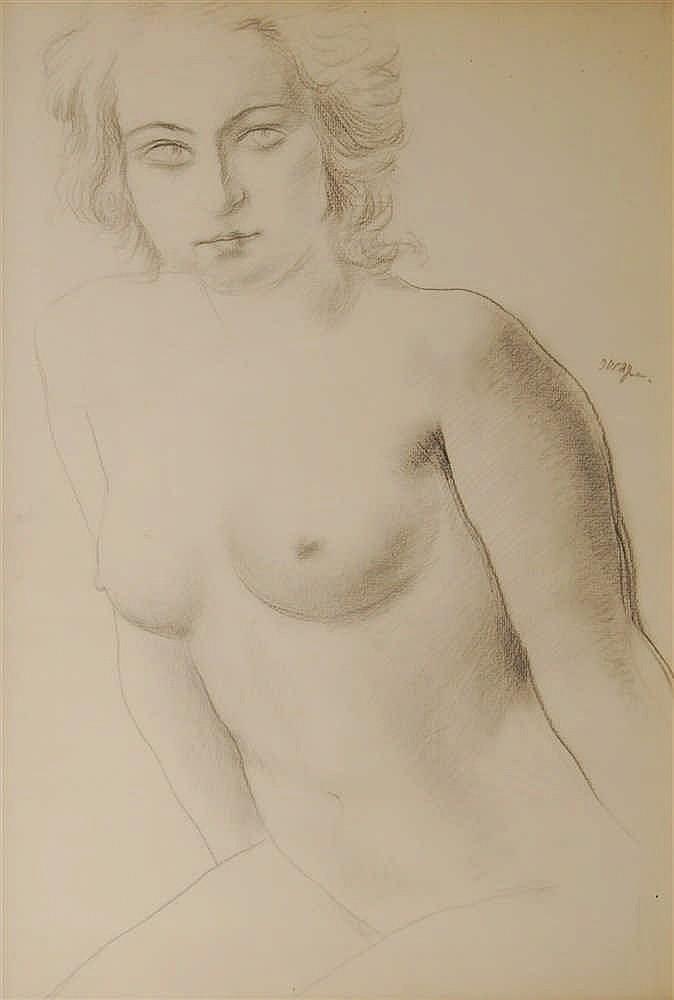 Adrien Dupagne (1889-1980) Buste de jeune femme nue Crayon s