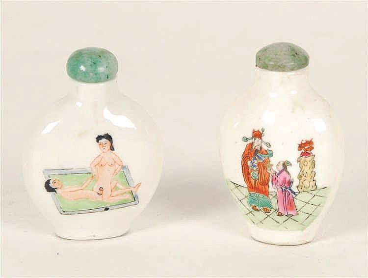 Chine Lot de deux tabatières Porcelaine, l'une à décor polychrome