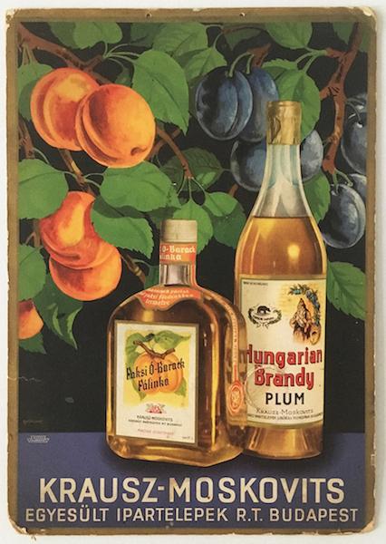 Krausz - Moskovits Old Peach Spirit, Hungarian Brandy Plum commercial poster (on cardboard) 1936